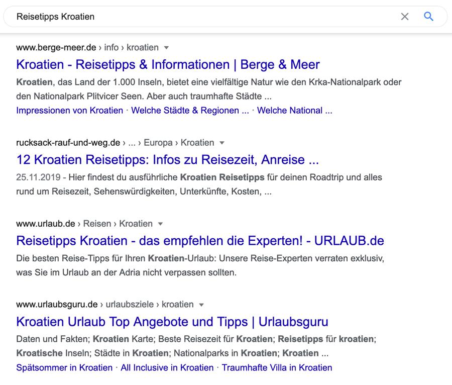 Reisetipps-Kroatien-Suchergebnis-Google